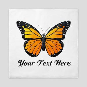Orange Butterfly Custom Text Queen Duvet