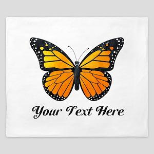 Orange Butterfly Custom Text King Duvet