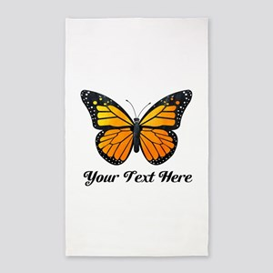 Orange Butterfly Custom Text Area Rug