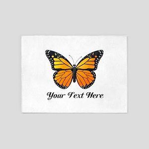 Orange Butterfly Custom Text 5'x7'Area Rug