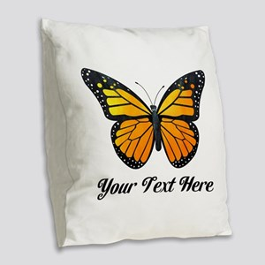Orange Butterfly Custom Text Burlap Throw Pillow