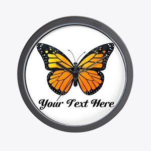 Orange Butterfly Custom Text Wall Clock