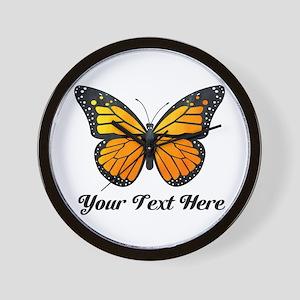Orange Butterfly Custom Text Wall Clock