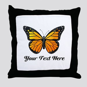 Orange Butterfly Custom Text Throw Pillow