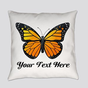 Orange Butterfly Custom Text Everyday Pillow