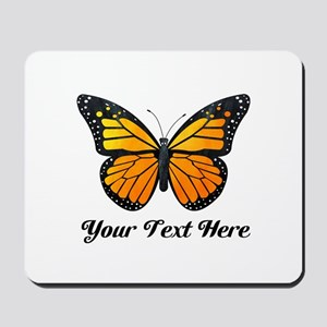 Orange Butterfly Custom Text Mousepad