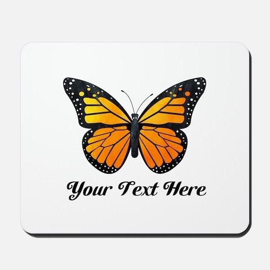 Orange Butterfly Custom Text Mousepad