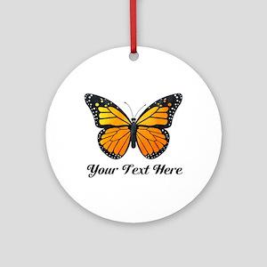 Orange Butterfly Custom Text Ornament (Round)