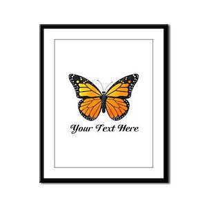 Orange Butterfly Custom Text Framed Panel Print