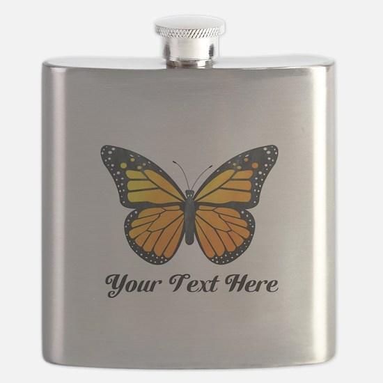 Orange Butterfly Custom Text Flask