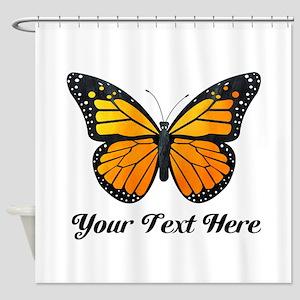 Orange Butterfly Custom Text Shower Curtain