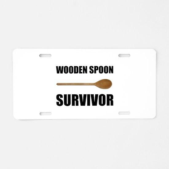 Wooden Spoon Survivor Aluminum License Plate
