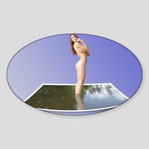Beautiful Nude Brunette in Water Photo Sticker