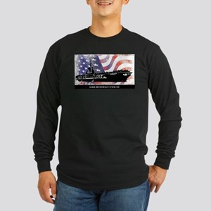 USS MIDWAY WITH FLAG Long Sleeve T-Shirt