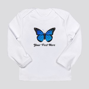 Blue Butterfly Custom Long Sleeve Infant T-Shirt