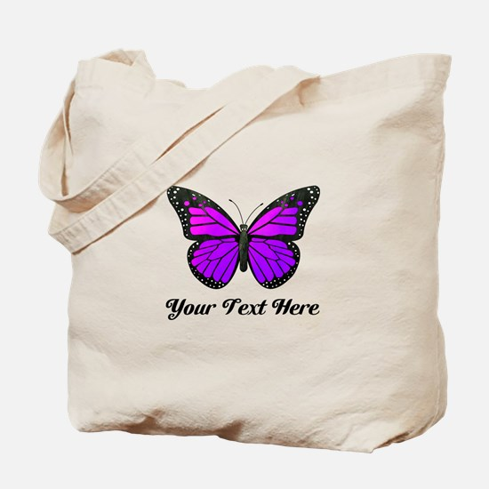 Purple Butterfly Custom Text Tote Bag