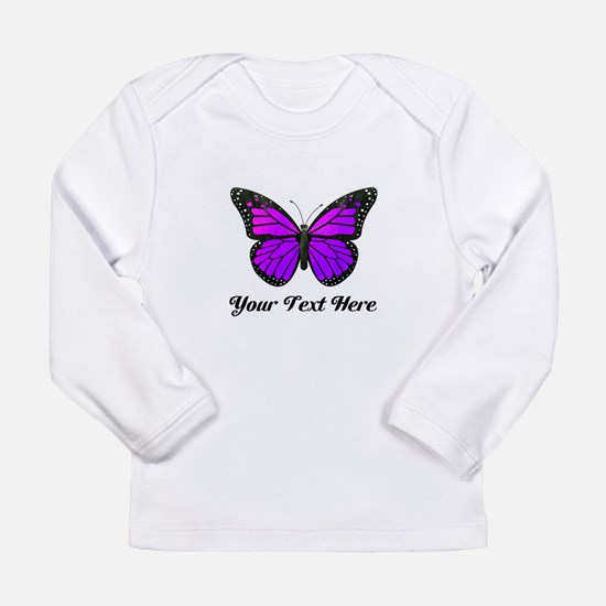 Purple Butterfly Custom Long Sleeve Infant T-Shirt