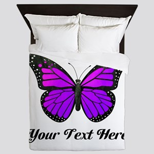 Purple Butterfly Custom Text Queen Duvet