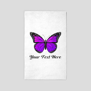 Purple Butterfly Custom Text Area Rug