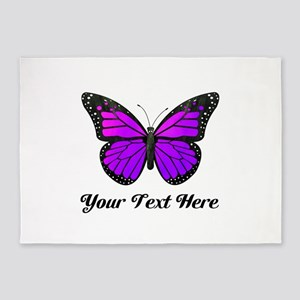 Purple Butterfly Custom Text 5'x7'Area Rug