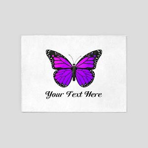 Purple Erfly Custom Text 5 X7 Area Rug
