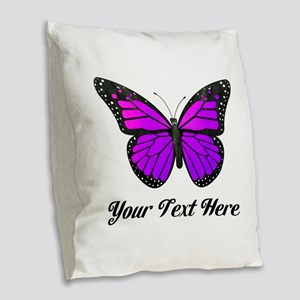 Purple Butterfly Custom Text Burlap Throw Pillow