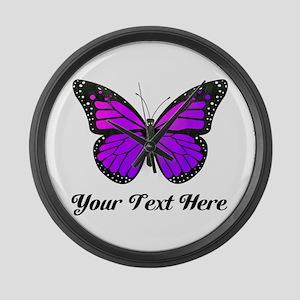 Purple Butterfly Custom Text Large Wall Clock