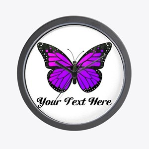 Purple Butterfly Custom Text Wall Clock
