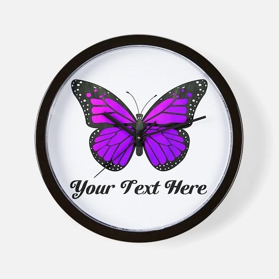 Purple Butterfly Custom Text Wall Clock