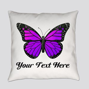 Purple Butterfly Custom Text Everyday Pillow