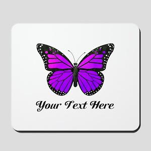 Purple Butterfly Custom Text Mousepad