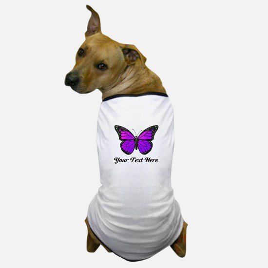 Purple Butterfly Custom Text Dog T-Shirt