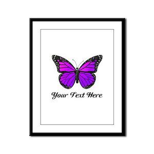 Purple Butterfly Custom Text Framed Panel Print