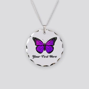 Purple Butterfly Custom Text Necklace Circle Charm