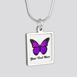 Purple Butterfly Custom Te Silver Square Necklace