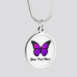 Purple Butterfly Custom Text Silver Round Necklace