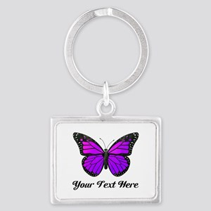Purple Butterfly Custom Text Landscape Keychain