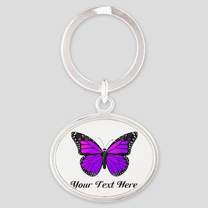 Purple Butterfly Custom Text Oval Keychain