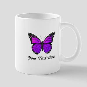 Purple Butterfly Custom Text Mug