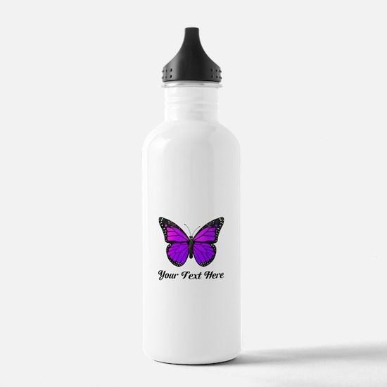 Purple Butterfly Custo Sports Water Bottle