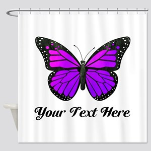 Purple Butterfly Custom Text Shower Curtain