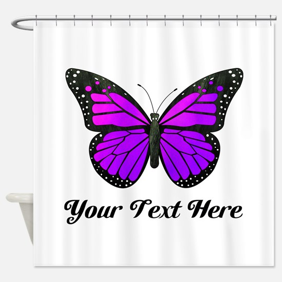 Purple Butterfly Custom Text Shower Curtain
