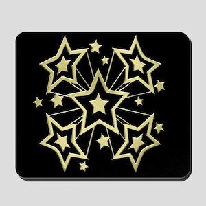 Gold Pow Stars on Black Mousepad