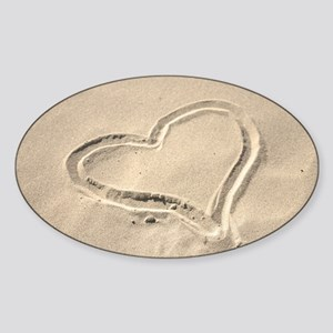 Heart in the sand Sticker (Oval)