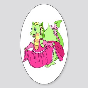 Pink Dress Dragon Oval Sticker