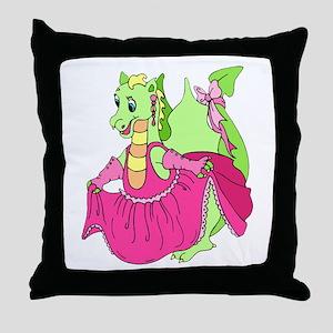 Pink Dress Dragon Throw Pillow