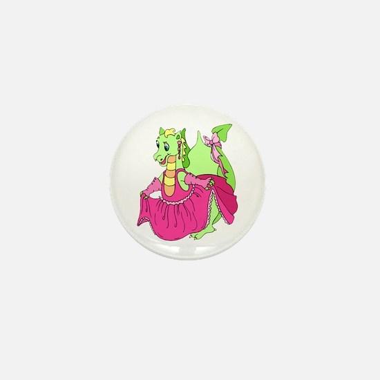 Pink Dress Dragon Mini Button