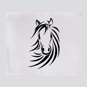 Black Horse Throw Blanket
