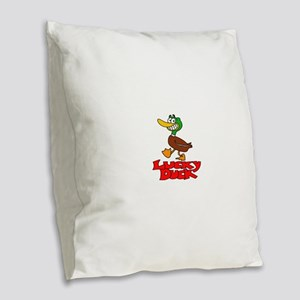 Lucky duck Burlap Throw Pillow