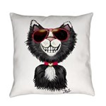Black-White Cartoon Cat (sg) Everyday Pillow